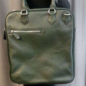 Zara Men's Tote Bag In Dark GREEN Pebbled Leather